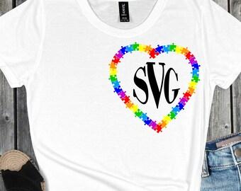 Monogram Autism Heart SVG,Autism design,autism awareness,autism, autism svg,Tshirt svg, cut files, cricut svg, svg for mobile, mobile svg