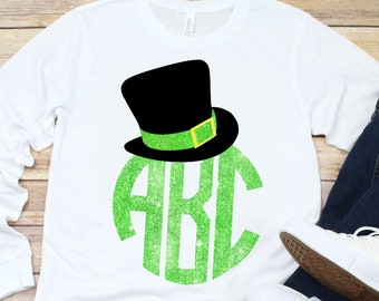 Leprechaun Hat Monogram svg,Leprechaun Hat svg,Leprechaun Hat,St.Patrick's svg,svg Tshirt,crafty cuttables,Cricut Design,Silhouette Design