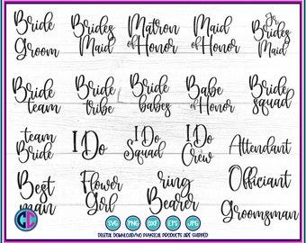 Bridal party bundle SVG, bridesmaid bundle, bridal party, bachelorette svg bundle, bridal svg designs, wedding cut file , svg for cricut