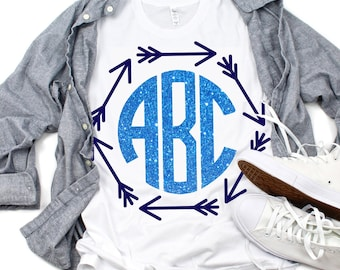 Arrow Monogram SVG,Tshirt svg,Arrow svg,circle monogram,Arrow monogram frame,Arrows svg,Crafty Cuttables,Cricut Designs,Silhouette Design