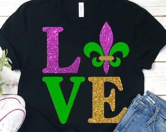 Love Mardi Gras SVG file,Mardi Gras Shirt Svg,Mardi Gras Vinyl shirt,Cricut Mardi Gras,Silhouette Dxf,Iron on Cut file,Mardis Gras Love svg