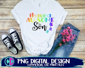 Autism Awareness png, ausome son png, sublimation png, print png, autism sublimation png, sublimation file, sublimation png, png print file
