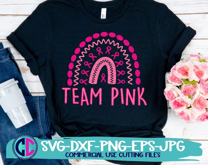 Featured listing image: Breast Cancer svg, team pink svg, hope ribbon svg, cancer svg, cancer, awareness svg, awareness svg design, cancer cut file, cancer png