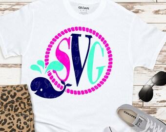 whale svg, whale monogram svg, Circle Frame Svg, circle monograms, svg circle frame,Summer Svg Designs, Summer Cut File, cricut svg