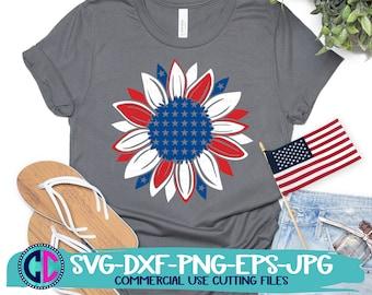 Patriotic Sunflower Svg, Independence Day svg, 4th of July Svg, American Flag Sunflower Svg, Summer svg, Summer Svg Design, Summer Cut file