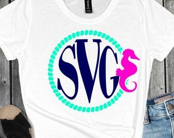 seahorse monogram svg, seahorse svg, Circle Frame Svg, circle monogram svg,svg,Summer Svg Designs, Summer Cut File, cricut svg
