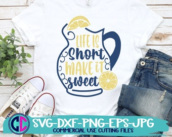 Summer Svg, Life is Short make it sweet svg, Lemons svg, lemonade svg, lemon pitcher svg, Summer svg design, Summer cut file, Summer cricut