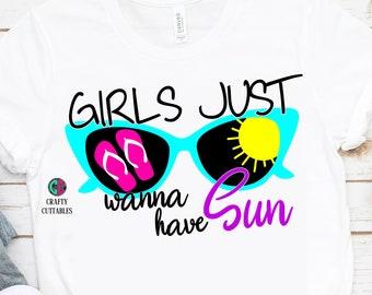 Girls Just Wanna Have Sun svg,Summertime svg,summer svg,girl svg,preppy svg,sunglasses svg,Summer Svg Designs, Summer Cut File, cricut svg