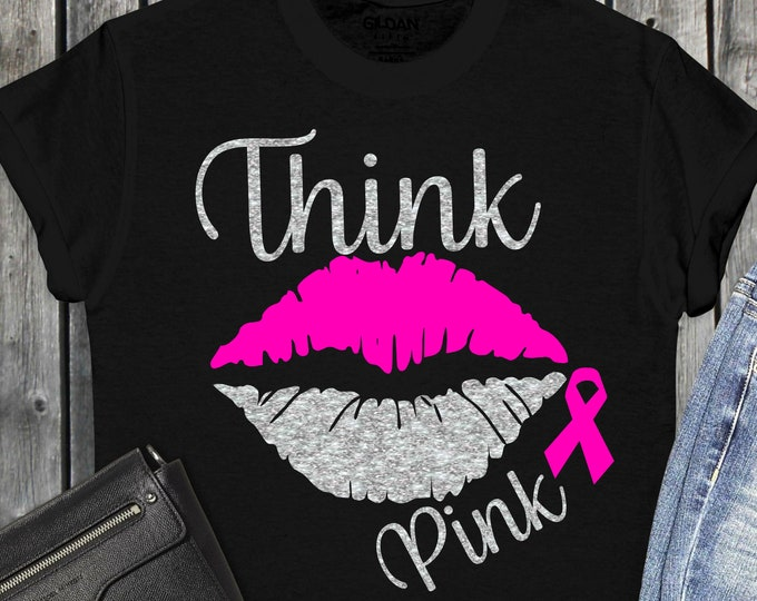 Featured listing image: Breast Cancer svg, lips breast cancer svg, cancer survivor svg, awareness ribbon svg, cut files, cricut svg, svg for mobile, mobile svg