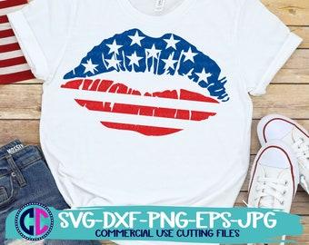 Patriotic Lips Svg, Independence Day svg, 4th of July Svg, American Flag Lips Svg, Svg, Summer svg, Summer Svg Design, Summer Cut file