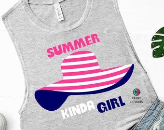 Summer hat kinda girl svg,Summer svg,summer hat svg,girl svg,preppy svg,beachy svg,Summer Svg Designs, Summer Cut File, cricut svg