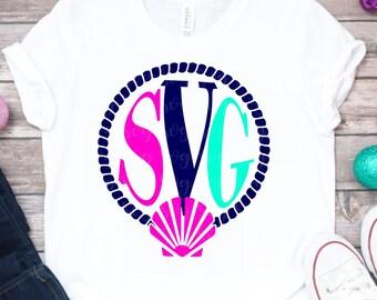 seashell monogram svg, seashell svg, Circle Frame Svg, circle monogram svg,svg,Summer Svg Designs, Summer Cut File, cricut svg