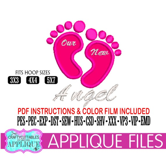 Baby Feet Applique,Our New Angel Applique,Baby Feet Embroidery,Baby  Applique,New Baby Embroidery,Applique,Cricut Designs,Silhouette Designs