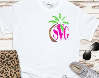 Palm tree Monogram Frames,Palm tree monogram,palm tree,monogram palm tree,beach monogram svg,Summer Svg Designs, Summer Cut File, cricut svg