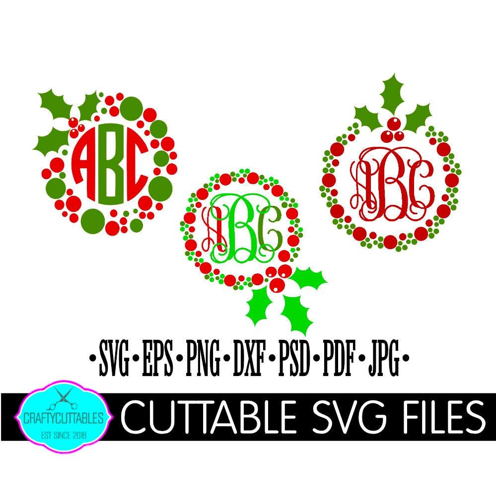 christmas monogram svgholly monogram svgwreath monogram svgholiday monogram svgchristmas decals christmas monograms svgholiday svg - Christmas Monograms