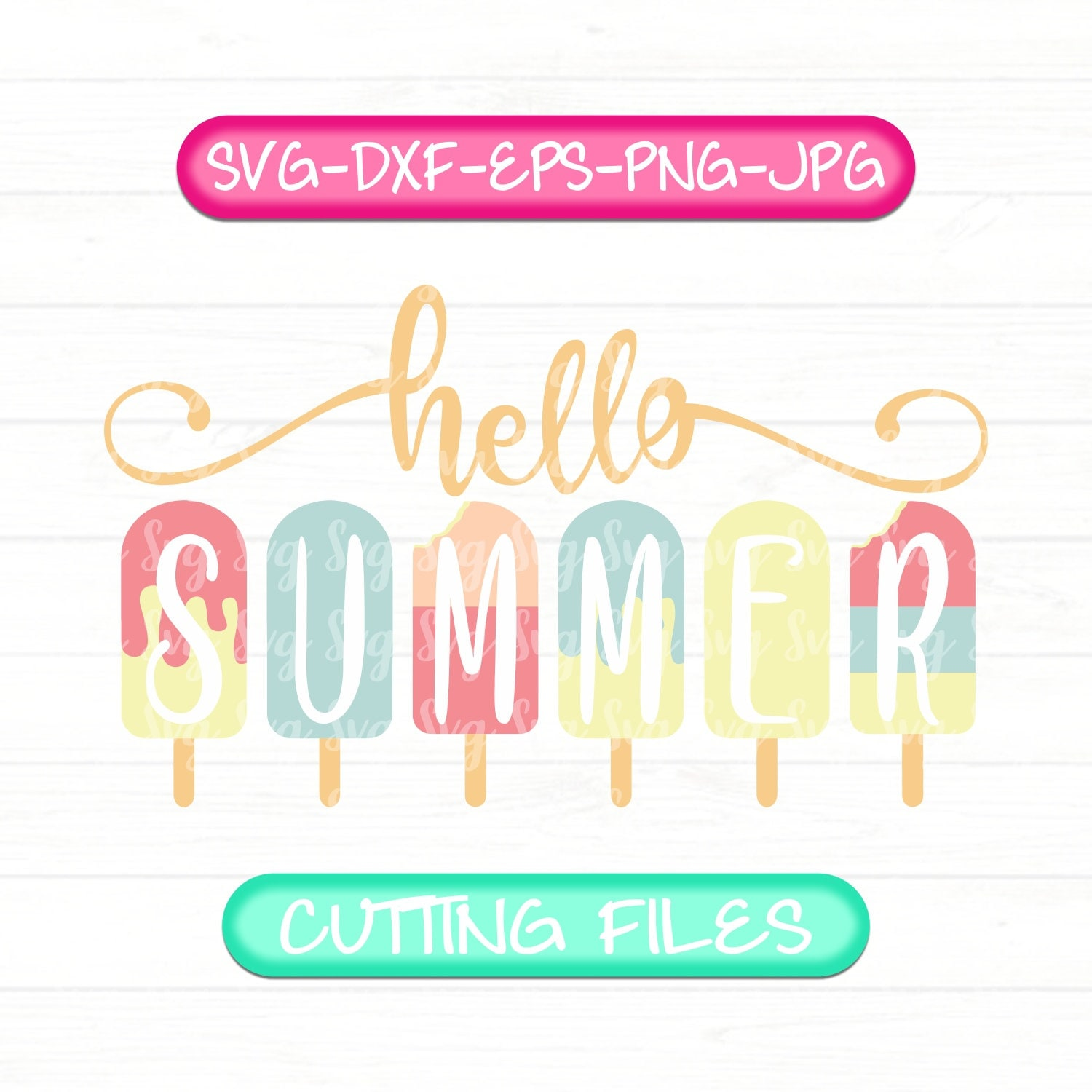 Hello Summer Svg Hello Summer Popsicle Svg Summer Svg Summer Sign Svg Summer Svg Files Summer Svg Files For Cricut Svg Files Dxf Png