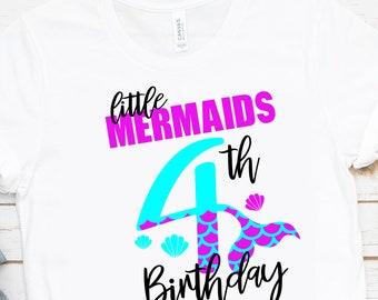 My 4th Birthday Mermaid Svg, Eps, Png,Clipart, Cut File, Mermaid Birthday Svg, Mermaid Girl Svg, svg for Cricut, Mermaid Vibes, Birthday Svg