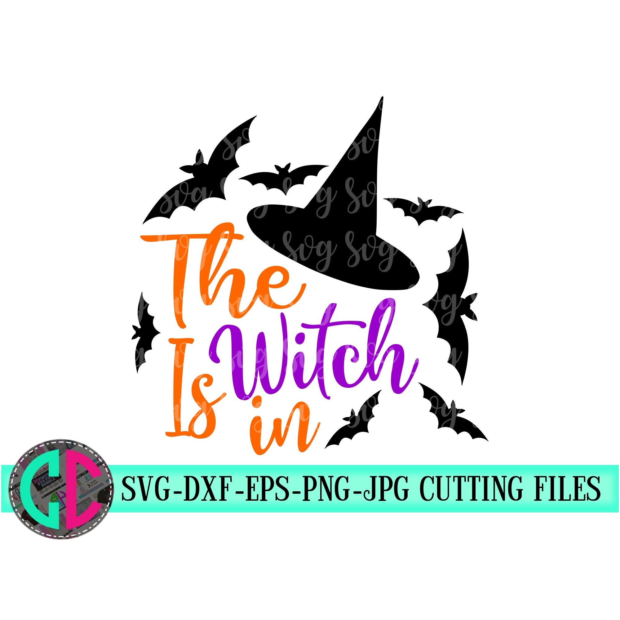 The Witch Is In Svg Halloween Svg Witch Svg Halloween Bat Svg Halloween Shirt Svg Silhouette Tshirt Svg For Cricut Bats Svg Crafty Cuttables