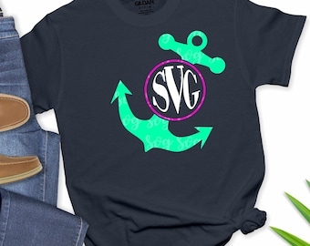anchor monogram svg, anchor svg, monogram svg, nautical svg, vacation svg, tshirt, Summer Svg Designs, Summer Cut File, cricut svg