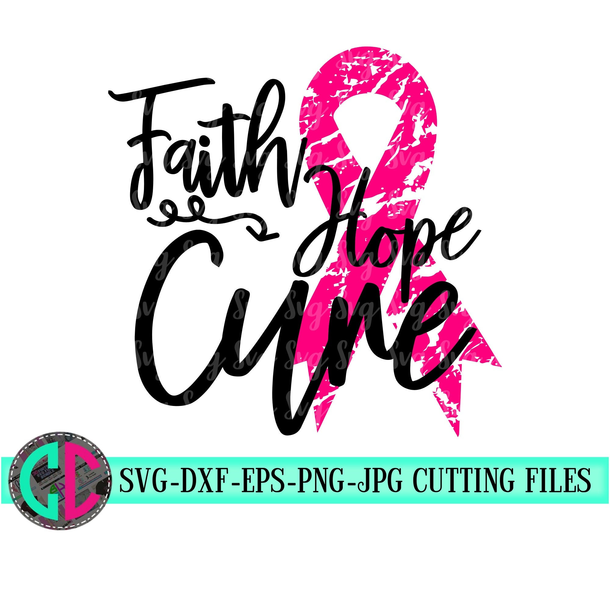 View Faith Hope Cure Svg, Breast Cancer Svg Ribbon Dxf Silhouette Studios Cameo Cricut Cut File Instant Download, Vinyl Design, Htv Scal Mtc Image