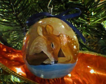 Slumbering Winter Animals Hand-Painted Gourd Ornament - Set of 4 - Tan