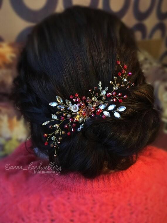 Braut Kopfschmuck Rote Haare Kammen Prom Haarschmuck Etsy