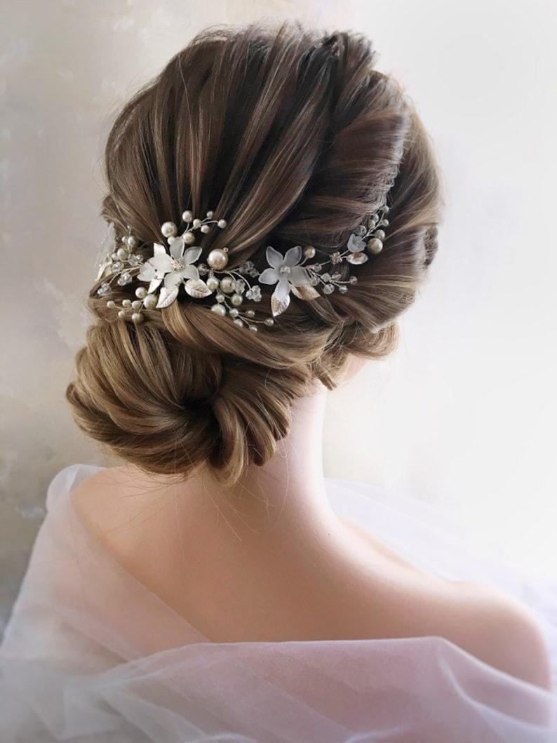 Bridal Hair Vine Bridal Headpiece Pearl Wedding Hairpiece image 0