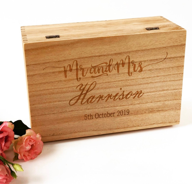 Personalised Wedding Keepsake Box Mr Mrs Wedding Gift Box Couples Engagement Wedding Gift