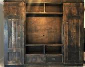 Double Bookcase Barn Door Entertainment Console