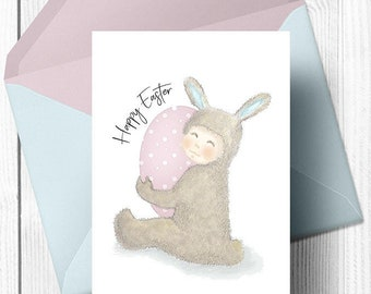Easter greeting card, greeting card, Easter bunny, Easter eggs, printable Easter card, Happy Easter, Easter Rabbit, DIY greeting cards