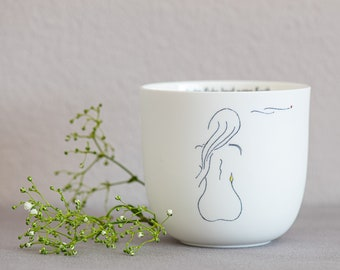 """Porcelain cup """"rest"""", handmade delicate illustrations, mindful sayings, special gifts, Easter gift"""