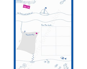 """Notepad """"mein tag"""" - stationery, daily schedule, daily planner, school, desk inspirations, post-it"""