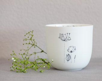 """Porcelain Cup """"Beautiful Things"""", Design 2, Handmade Delicate Illustrations, Mindful Sayings, Special Gifts, Easter Gift"""