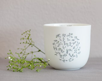 """Porcelain cup """"Inner Garden"""", handmade delicate illustrations, mindful sayings, special gifts, Easter gift"""