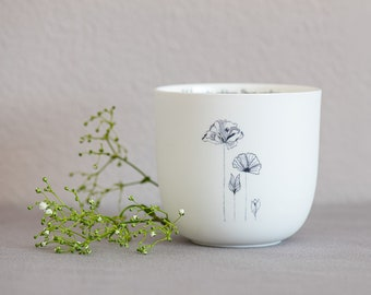 """Porcelain Cup """"Beautiful Things"""", Design 1, Handmade Delicate Illustrations, Mindful Sayings, Special Gifts, Easter Gift"""
