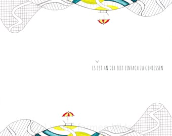 "Poster type, illustration ""enjoytime"" (art print), positive inspiration, decoration, home décor"