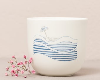 """Porcelain mug """"Let yourself drift ..."""", handmade delicate illustrations, mindful sayings, special gifts"""