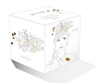 """Papierbox """"Wort*Geschenk"""", Gedanken-Box für achtsame Worte, DIY Würfel Papier, Printable, Download, Geschenkverpackung, Valentinstag"""