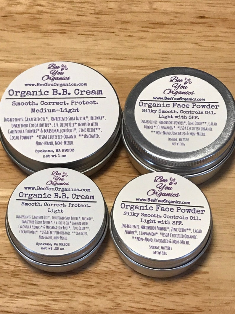 Organic BB Cream & Organic Face Powder Set | Natural Organic Makeup |  Tinted Moisturizer Sunscreen | Hypoallergenic | Sensitive Skin |