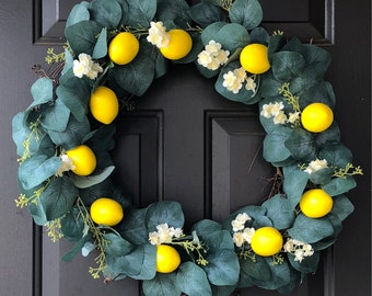 Wreath,Summer Wreath,Spring Wreath,Lemon Wreath,Citrus Wreath,Housewarming Gift,Gift for mom,lemon wreath for kitchen,Wreath for front door