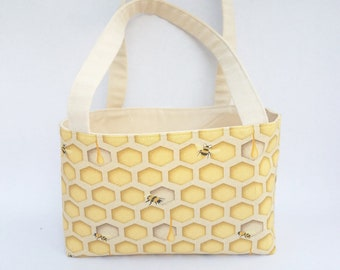 Bees Honey Natural Cotton Canvas Tote, Shoulder Bag, Purse, Hobo Bag, Washable, Reversable, Pocket, Casual