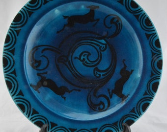 Art deco blue plate made in France 1920s