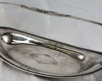 Antique oval silver plate tray Meriden international