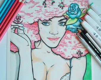 Hand drawn illustration with markers of African girl with flowers.