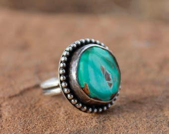 Natural Royston Turquoise Ring in Sterling Silver, size 7.5