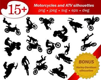 ATV Svg People Silhouette Motorcycle Png Stencil Cricut Cameo Stuntman Show Printable Art Vector Template Editable Harley Davidson Free
