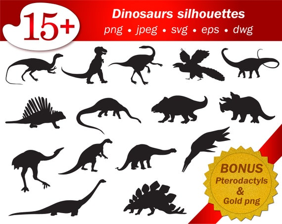 Dinosaurs Svg Silhouette Collection Stencil Template Cricut Etsy