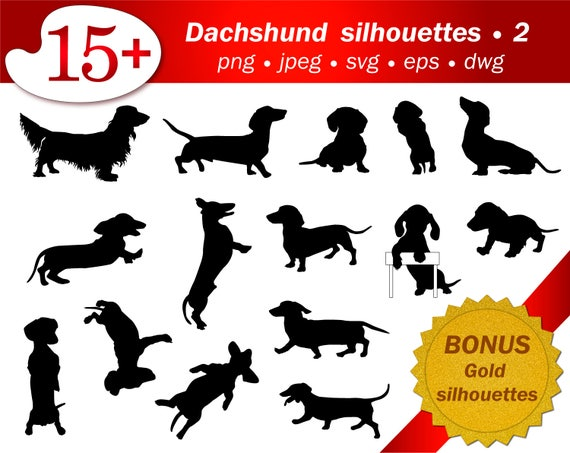 Dog SVG Silhouette Dachshund Clipart Puppy Stencil Template Cameo Cricut Cutting Vector Editable Printable Dwg Png Free Gold Glitter Adult