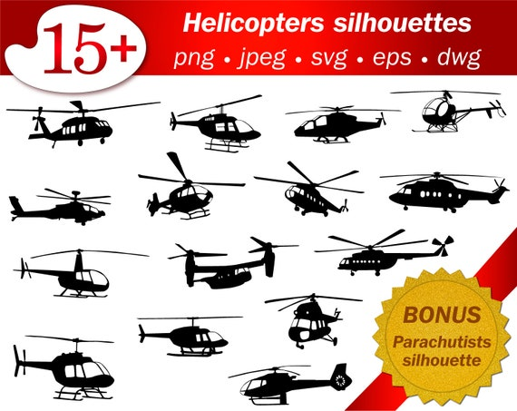 Helicopter Svg Silhouette Stencil Cameo Cricut Cutting Vector Etsy