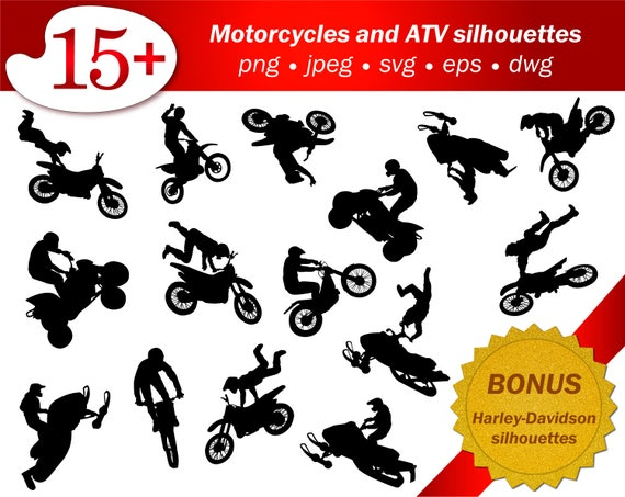 Atv Svg People Silhouette Motorcycle Png Stencil Cricut Cameo Etsy